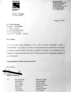 Commendation letter from CEO for Sidhuisms